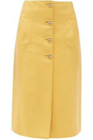 Prada Buttoned Leather Midi Skirt - Womens - Yellow