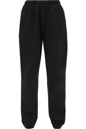 Les Tien Brushed-back Cotton Track Pants - Womens - Black