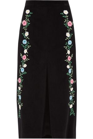 Miu Miu Front Slit Floral-embroidered Corduroy Skirt - Womens - Black Multi