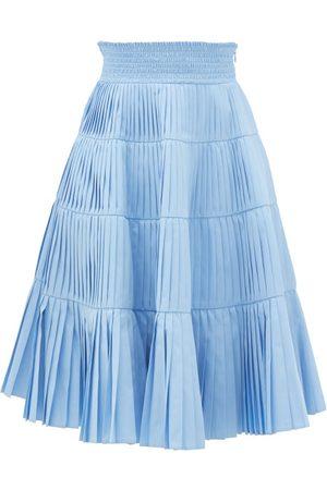 Prada Pleated Tiered Cotton-poplin Midi Skirt - Womens - Light Blue