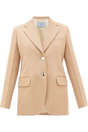 Prada Dames Wollen jassen - Single-breasted Virgin-wool Gabardine Blazer - Womens