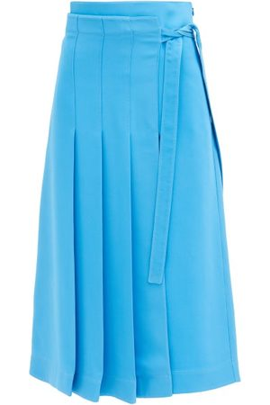 VALENTINO Cady Couture Knife-pleat Silk Midi Skirt - Womens - Light Blue