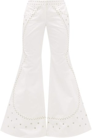 FRANCOISE Studded Flared Cotton Trousers - Womens - White