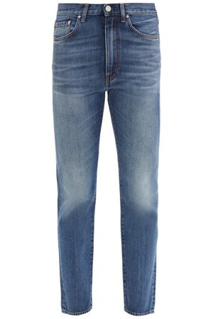 Totême Studio Cropped Straight-leg Jeans - Womens - Mid Blue