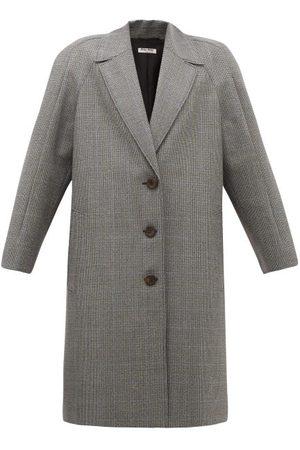 Miu Miu Houndstooth Virgin Wool Single-breasted Coat - Womens - Grey