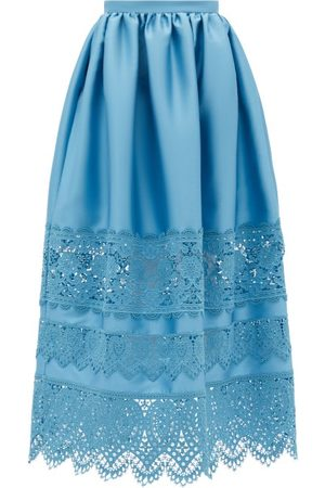 Erdem Dames Midi rokken - Jennifer Guipure Lace-trimmed Midi Skirt - Womens - Blue