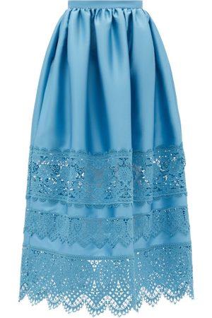 Erdem Jennifer Guipure Lace-trimmed Midi Skirt - Womens - Blue