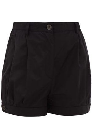 Prada Dames Shorts - High-rise Cotton-poplin Shorts - Womens - Black