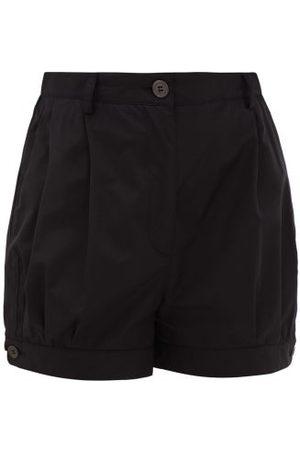 Prada High-rise Buttoned-cuff Cotton Shorts - Womens - Black