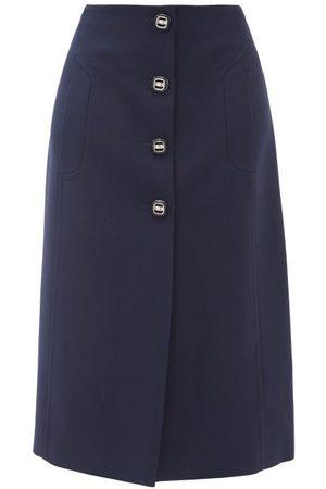 Prada Buttoned Wool-twill Suit Skirt - Womens - Navy