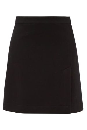 Raey Dames Korte & Mini rokken - A-line Split-hem Wool-blend Mini Skirt - Womens - Navy