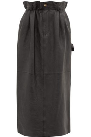 Miu Miu Dames Midi rokken - Paperbag-waist Leather Midi Skirt - Womens - Black