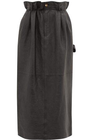 Miu Miu Paperbag-waist Leather Midi Skirt