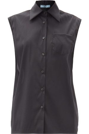 Prada Sleeveless Silk-blend Organza Shirt - Womens - Black