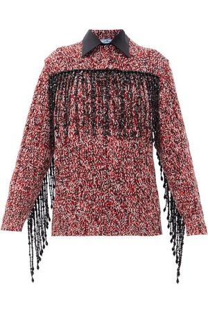 Prada Fringed-beads Wool-blend Sweater - Womens - Red Multi