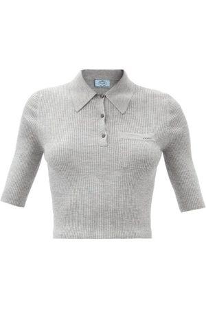 Prada Logo-jacquard Ribbed Wool-blend Polo Shirt - Womens - Light Grey