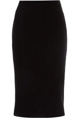 Saint Laurent High-rise Velvet Pencil Skirt - Womens - Black