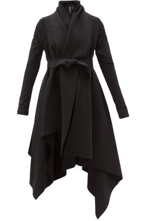 Norma Kamali Blanket Asymmetric Cotton-blend Jersey Coat - Womens - Black