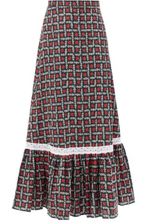 Miu Miu Dames Geprinte rokken - Floral-print Tiered Cotton Midi Skirt - Womens - Black Print