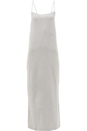 Raey Square-neck Cotton-blend Jersey Slip Dress - Womens - Grey Marl