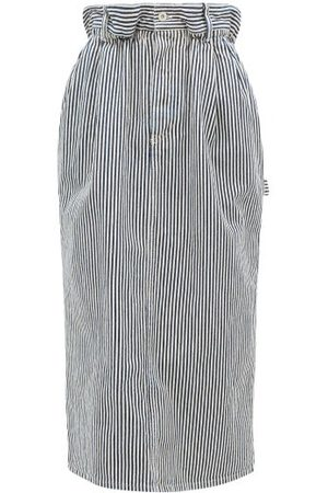 Miu Miu Paperbag-waist Logo-patch Striped Denim Skirt - Womens - Navy