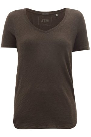 ATM Anthony Thomas Melillo V-neck Slubbed-cotton T-shirt - Womens - Black