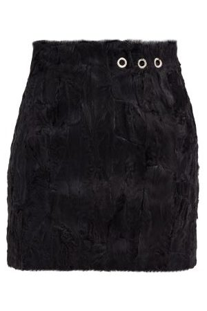 Ludovic De Saint Sernin Dames Korte & Mini rokken - Eyelet Shearling Mini Skirt - Womens - Black