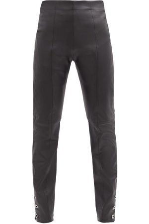 Ludovic De Saint Sernin Dames Leren broeken - High-rise Eyelet Zip-cuff Leather Trousers - Womens - Black