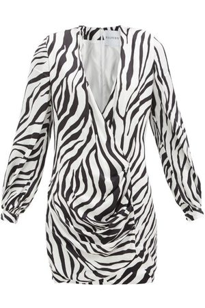 HALPERN Draped Zebra-print Satin Mini Dress - Womens - Black White