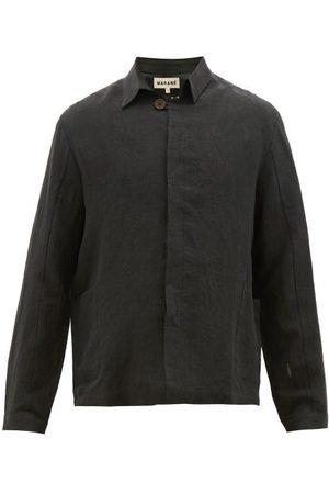 MARANÉ Button-down Linen Jacket - Mens - Black