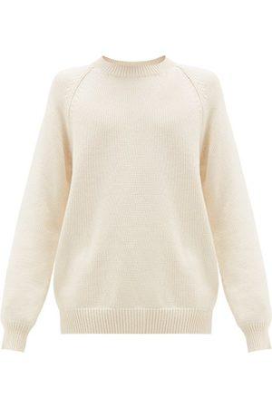 Raey Oversized Crew-neck Cotton-blend Sweater - Mens - Ivory
