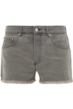 Raey Frayed-hem Denim Shorts - Mens - Grey