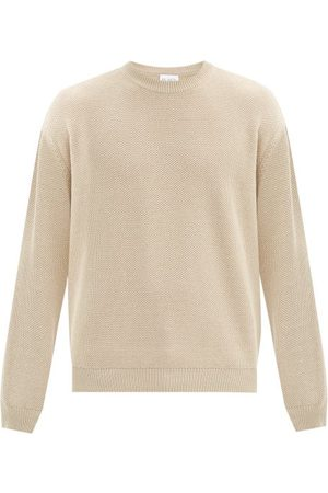 Raey Crew-neck Cotton-piqué Sweater - Mens - Light Grey