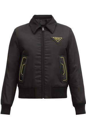 Prada Logo-patch Padded-shell Bomber Jacket - Mens - Black