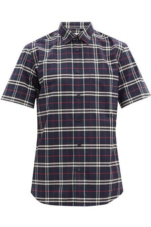 Burberry Simpson Checked Cotton-blend Poplin Shirt - Mens - Navy Multi