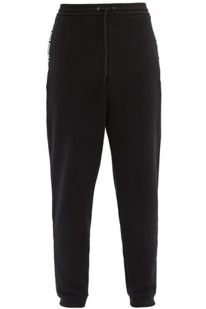 7 MONCLER FRAGMENT Logo-tape Cotton-jersey Track Pants - Mens - Black