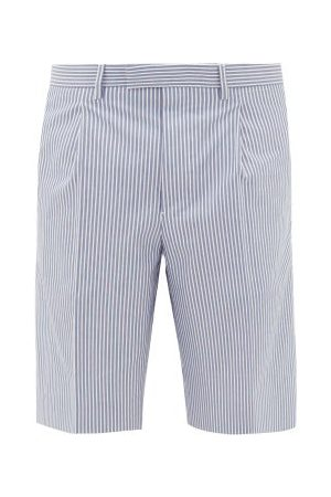 Prada Heren Shorts - Striped Cotton-poplin Shorts - Mens - Blue