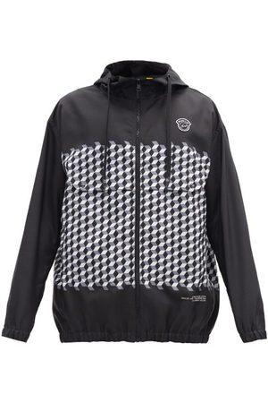 7 MONCLER FRAGMENT Heren Windbreakers - Kaplan Hooded Tile-print Windbreaker Jacket - Mens - Black