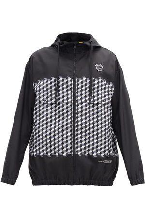 7 MONCLER FRAGMENT HIROSHI FUJIWARA Kaplan Hooded Tile-print Windbreaker Jacket - Mens - Black