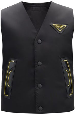 Prada Logo-patch Padded-shell Gilet - Mens - Black