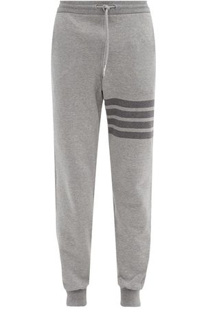 Thom Browne Four-bar Cotton-jersey Track Pants - Mens - Grey