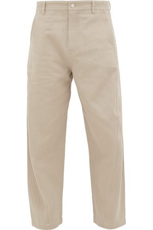 Raey Twist-seam Cotton-blend Trousers - Mens - Light Grey