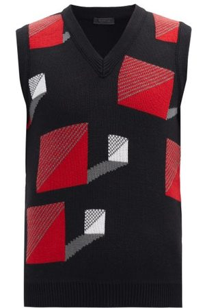 Prada Heren Sweaters - Square-jacquard Wool Sleeveless Sweater - Mens - Black Red