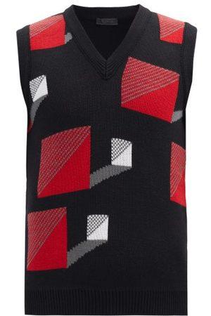 Prada Square-jacquard Wool Sleeveless Sweater - Mens - Black Red
