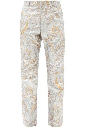 Paco rabanne Paisley-jacquard Lurex Straight-leg Trousers - Mens - Silver
