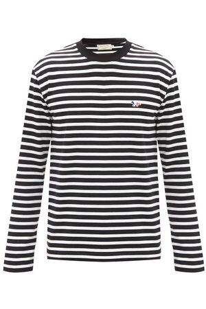 Maison Kitsuné Tricolour Fox-patch Striped Cotton T-shirt - Mens - Black