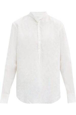 Bourrienne Paris X Épicurien Stand-collar Linen-poplin Shirt - Mens - White