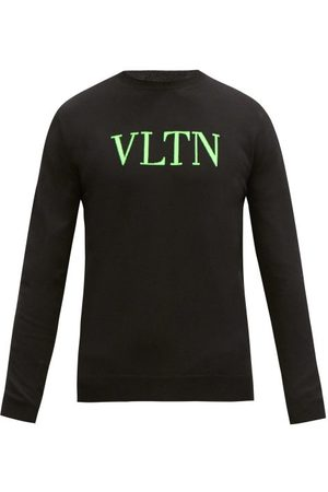 VALENTINO Heren Sweaters - Logo-jacquard Cotton-blend Sweater - Mens - Black Green