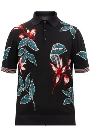 Prada Heren Poloshirts - Floral-intarsia Wool-blend Polo Shirt - Mens - Black