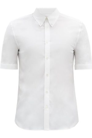 Alexander McQueen Short-sleeved Cotton-blend Poplin Shirt - Mens - White